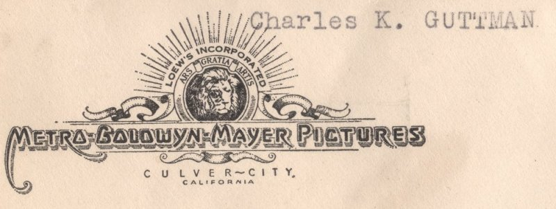 US#C25 On Cover from Metro Goldwyn Mayer Pictures