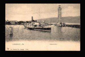 016365 LIGHTHOUSE & ship in LINDAU GERMANY Vintage PC