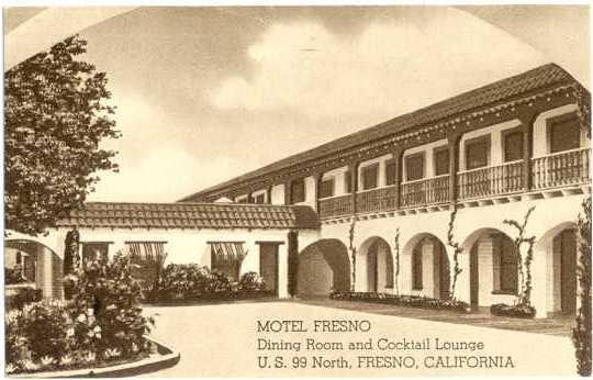 Motel Fresno, U.S. 99 North, Fresno California CA, Standard size Portraitone