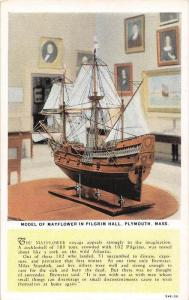 12841 MA  Plymouth  1930's  Model of Mayflower in Pilgrim Hall