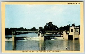 Fort Wayne Indiana~Municipal Dam & Power Plant~c1940 Kodachrome~Postcard