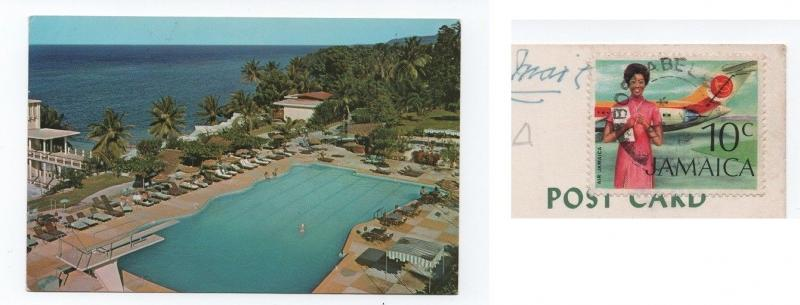 Postcard JAMAICA OCHO RIOS hotel hotels 1972 STAMP AIRPLANE  WOMAN HOSTESS XX
