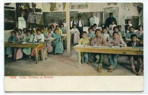 Native American Children at School Southern Indian Life series 1910c postcard