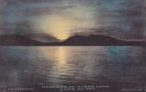 California Lake County Moon Rise On Clear Lake Handcolored Albertype