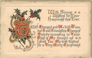 Christmas Post Card Old Vintage Antique Xmas Postcard 1914