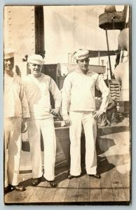 RPPC Trio of Navy Sailors in Uniform~Relaxing Shipboard~Aldi's Signal Lamp?~WWI