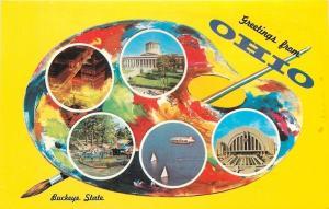 Ohio~State Artist Palette Series~The Buckeye State~Goodyear Blimp~1963 Postcard