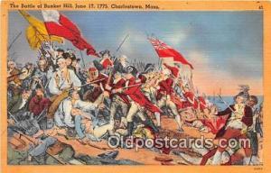 Battle of Bunker Hill, June 17, 1775 Charlestown, Mass Patriotic Postcard Pos...