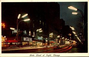 Illinois Chicago State Street At Night 1970
