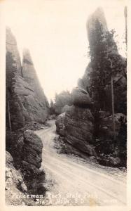 Black Hills SD Dirt Road Thru Policeman Rock Formation~State Park RPPC 1920s