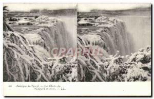 Stereoscopic map - USA - North America - Niagara Falls in Winter - Old Postcard