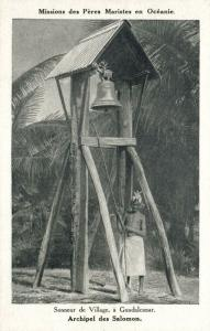 salomon islands, GUADALCANAR, Village's Bell Ringer (1920s) Mission