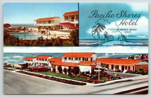 Pacific Beach CA~Pacific Shores Hotel~Front & Back~Artist Drawn Island~1960s PC