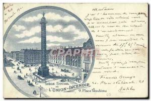 Old Postcard insurance Paris Place Vendome L & # 39Union Fire