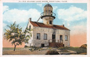Old Spanish Light House, Point Loma, California,  Early Postcard, Unused