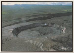 Above Hawaii, The Big Island, Kilauea, parking lot, edge of Halemaumau, Postcard