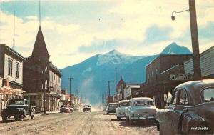 1950s Skagway Alaska Broadway Business District Deadmans Dexter postcard 3405