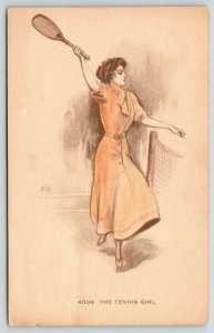 Artist Signed~The Tennis Girl~Lovely Lady Returns Volley at Net~Handcolored~1908