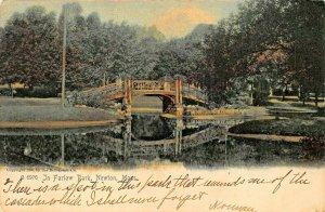 NEWTON MASSACHUSETTS~IN FARLOW PARK-BRIDGE~1905 ROTOGRAPH TINTED PHOTO POSTCARD