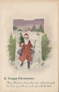 CHRISTMAS, 1913 ; Santa Claus Carrying small Tree