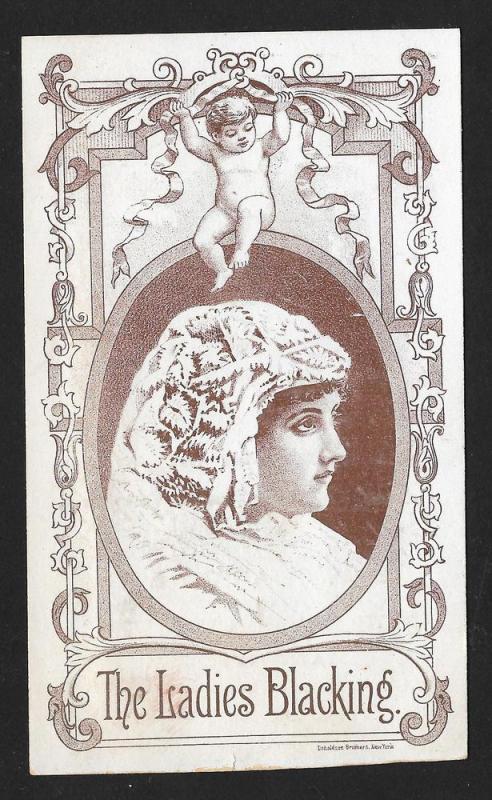 VICTORIAN TRADE CARD Ladies Shoe Blacking Woman