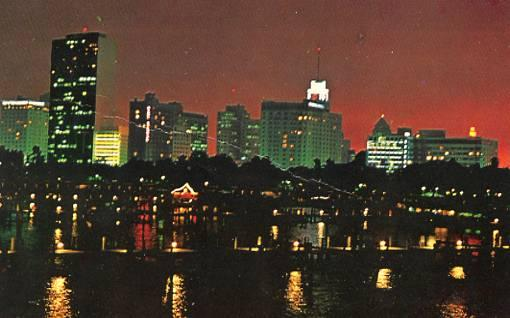 FL - Miami, Skyline at night from Dodge Island Causeway
