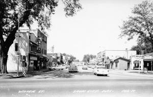 Sauk City WI~Water Street~Mobil Gas Station~Lang's Soda Lunch~1950s Cars~RPPC