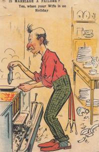 Wife On Holiday Frying Fish on Pan Marriage Disaster Kitchen Old Comic Postcard