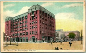 South Bend, Indiana Postcard Farmers' Trust Building Bank / Street View c1920s