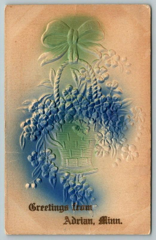 Adrian Minnesota~Embossed~Airbrushed~Basket of Flowers Greetings~Gold Font~1909