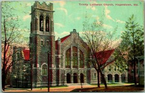 Hagerstown, Maryland Postcard TRINITY LUTHERAN CHURCH Building View 1912 Cancel