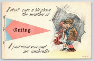 Outing Minnesota~Dutch Boy-Girl w Umbrella~Don't Care About Weather~1910 Pennant