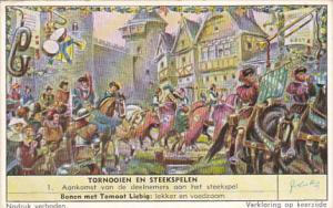 Liebig Trade Card S1682 Tourneys & Jousts 1957 No 1 Aankomst van de deelnemer...