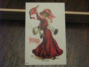 Harvard University Postcard Pennant Girl