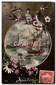 Old Postcard Fantasy Boat Remembrance