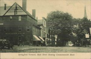 Springfield VT Main St. Commonwealth Block c1905 UDB Postcard
