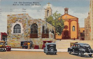 Old Guadalupe Mission Built in 1549 Juarez Mexico Tarjeta Postal 1949