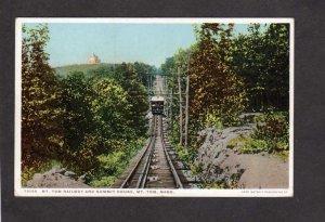 MA Mt Tom Railway Railroad Train to Summit House Holyoke Massachusetts Postcard
