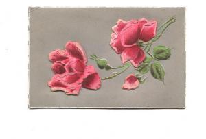 Beautiful Silkscreened Red and Pink Felt Roses,