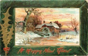 New Year~Old Mill Water Wheel~Sunset Over Frozen Creek~Green Frame~TUCK Ser 139
