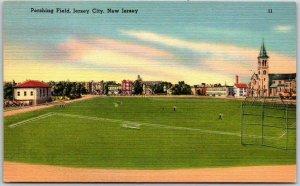 1940s JERSEY CITY, New Jersey Postcard PERSHING FIELD Baseball Stadium Linen