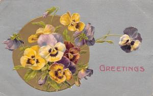 Winsch Flowers~Yellow Purple Lavender Pansies on Gold Ball~Silver Back Embossed