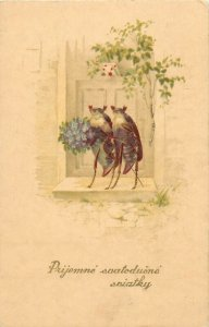 Humanized beetle bugs couple fantasy eraly greetings postcard