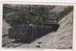 Mines Loaded Coal Cars Being Drawn From Slope By Steel Cable Curteich