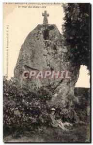 Postcard Old Megalith Dolmen Pontivy enclave in the wall
