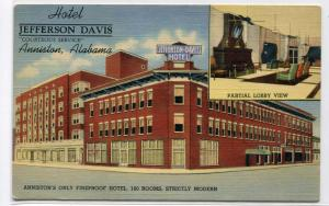 Hotel Jefferson Davis Anniston Alabama 1943 linen postcard