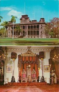 Honolulu Hawaii~Iolani Palace~Inside Out~Throne Room~1970 Postcard