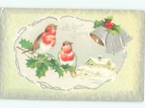 Pre-Linen Christmas CUTE BIRDS WITH SILVER BELLS AND HOLLY AB5099