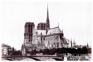 New Postcard, c1860 NOTRE DAME Cathedral Church, Paris, France, Repro Card 97O