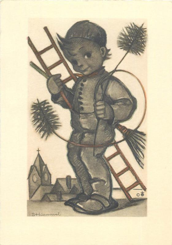 Himmel-Artist Drawn Signed postcard luck chimney sweep boy caricature
